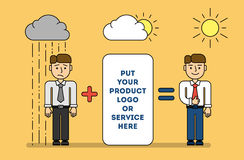 Teambuilding and marketing concept. Put your product logo or service. Sad man under rain and happy man under the sun with logo and solution Stock Photography