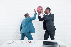 Teambuilding in office. Time-out sport activities. Teambuilding on lunch time in office. Sport activities and entertainment at work timeouts. Creative leisure royalty free stock photos
