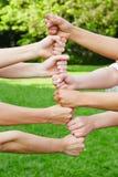 Teamentwicklungsturm in der Zusammenarbeit Lizenzfreies Stockfoto