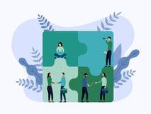 Teamfunktion, Verbindungspuzzlespielelemente der Leute lizenzfreie abbildung