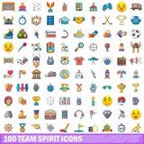 100 Teamgeistikonen eingestellt, Karikaturart Stockfoto
