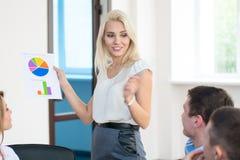 Teamleden die aandachtig aan een bedrijfsvrouw luisteren die a houden Stock Foto's