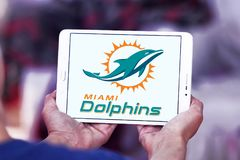 Teamlogo des amerikanischen Fußballs der Miami Dolphins Lizenzfreie Stockfotografie