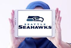 Teamlogo des amerikanischen Fußballs der Seattle Seahawks Stockfotografie