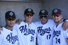 Teammates. Branden Shipley,Elvin Soto,  Randy McCurry,Yogey Perez Ramos ,,four teammates of the 2013 Hillsbro Hops baseball club Royalty Free Stock Photography