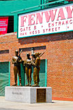 Teammates Statue at Fenway Park, Boston, MA. A Bronze statue commemorating the friendship of four Boston Red Sox teammates, Ted Williams, Bobby Doerr, Eddie Stock Images