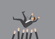 Teammates Toss Businessman in the air for celebration. Popular businessman get thrown into the air by coworkers during celebration. Vector illustration for Stock Image