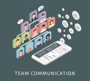 Teammededeling via smartphone app stock illustratie