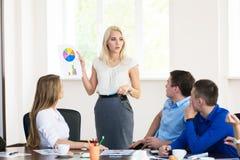 Teammitglieder, die aufmerksam auf eine Geschäftsfrau hält a hören Stockfoto