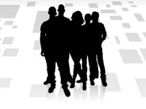Teams. A group of five people standing on a white striped background team Stock Photo