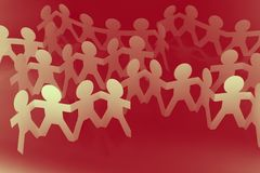 Teams. Crowd of paper chain people Royalty Free Stock Image