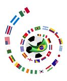 The 32 Teams in Brazil 2014 World Cup. Brazil 2014, An Illustration of The Flags of 32 Countries Around A Soccer Ball of of Football World Cup in Brazil Stock Photo