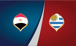 Teams of countries Egypt and Uruguay, flags, banner vector. Illustration Royalty Free Stock Photos