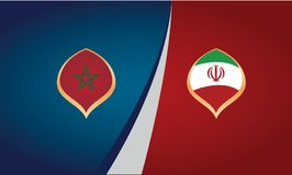Teams of the countries of Morocco and Iran, flags, banner vector. Illustration Royalty Free Stock Image