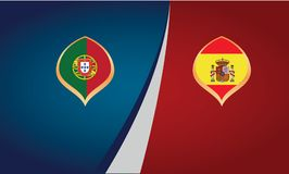 Teams of countries Portugal and Spain, flags, banner vector royalty free illustration