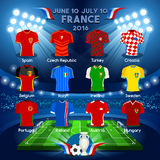Teams EURO 2016 Championship. France EURO 2016 Championship Infographic Qualified Soccer Players. Football Game Jersey Apparel flags of final participating Stock Images