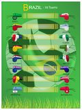 16 Teams of Football Tournament in Brazil Final Tournament. Brazil 2014, The Whistle and Flags of 16 Nations of Football or Soccer Championship in Final stock illustration
