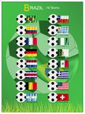 16 Teams of Football Tournament in Brazil 2014. Brazil 2014, The Flags of 16 Nations of Football or Soccer Championship in Final Tournament at Brazil  on White Royalty Free Stock Photos