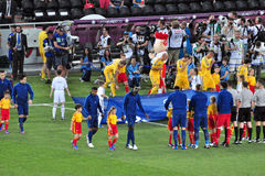 Teams of France and Ukraine go to the field Stock Image