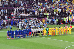 Teams of France and the Ukraine listening anthems Stock Photo