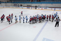 Teams after the Ice hockey match Bobrov vs Piter Royalty Free Stock Image
