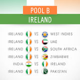 Teams list for Cricket World Cup 2015. Cricket World Cup 2015 teams list playing against Ireland under Pool B Stock Images