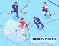 Hockey Match Isometric Illustration Royalty Free Stock Photography