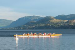 Teams rowing dragon boats on Skaha Lake in Penticton, BC, Canada. Penticton, British Columbia/Canada - June 13, 2019: close-up of teams rowing dragon boats royalty free stock photography