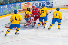 Teams of Russia and Sweden play in hockey Royalty Free Stock Photos
