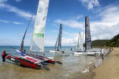 Teams sailing on Formula 18 national catamaran race, on June 3 2016 in Punta Ala, Italy Royalty Free Stock Photo