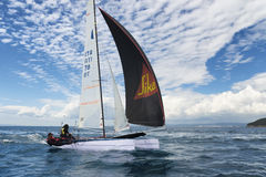 teams sailing on Formula 18 national catamaran race, in Punta Ala, Italy Stock Photo