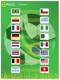 16 Teams of Soccer Tournament in Brazil 2014. Brazil 2014, The Flags of 16 Nations of Football or Soccer Championship in Final Tournament at Brazil Royalty Free Stock Photography