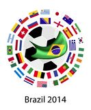 The 32 Teams in 2014 World Cup. Brazil 2014, An Illustration of The Flags of 32 Nations Around A Soccer Ball of of Football World Cup in Brazil Royalty Free Stock Image