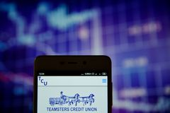 Teamsters Credit Union Detroit logo on the smartphone. Ivano-Frankivsk, Ukraine - May 16, 2019:  Teamsters Credit Union Detroit logo is seen on an smartphone stock photo