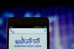 Teamsters Credit Union Detroit logo on the smartphone. Ivano-Frankivsk, Ukraine - May 16, 2019:  Teamsters Credit Union Detroit logo is seen on an smartphone royalty free stock photography