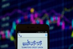 Teamsters Credit Union Detroit logo on the smartphone. Ivano-Frankivsk, Ukraine - May 16, 2019:  Teamsters Credit Union Detroit logo is seen on an smartphone stock images