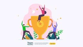 Teamsucces met trofeekop het winnen groepswerkconcept Samen voltooiing met mensenkarakter voor het malplaatje van het Weblandings royalty-vrije illustratie