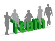 Teamwoord in 3d met mensen Stock Foto's