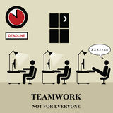 Teamwork. Is not for everyone in the workplace Vector Illustration