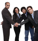 Teamwork. With hands together in a deal Stock Photography