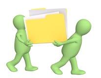 Teamwork. 3D puppets, holding in hands folder Stock Image