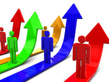 Teamwork. 3d illustration of people signs and upward arrows, team success concept Stock Images