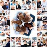 Teamwork. Collage of business teams working together, technology and partnership concepts Royalty Free Stock Photo