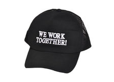 Teamwork. Black hat with the words We Work Together. Great for teamwork concept Stock Image