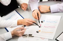 Teamwork. Image of business people�s hands during teamwork Royalty Free Stock Image