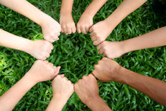 Teamwork 2. Children's hands Royalty Free Stock Photography