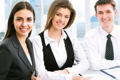 Teamwork. Businesspeople working at modern office royalty free stock photos