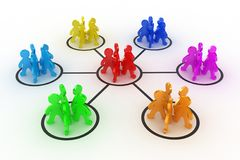 The teamwork. Illustration of interaction of different groups of people Stock Photography