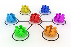 The teamwork. Illustration of interaction of different groups of people Stock Photos