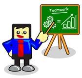 Teamwork. Illustration of cartoon businessman presentation on chalk board Stock Photography